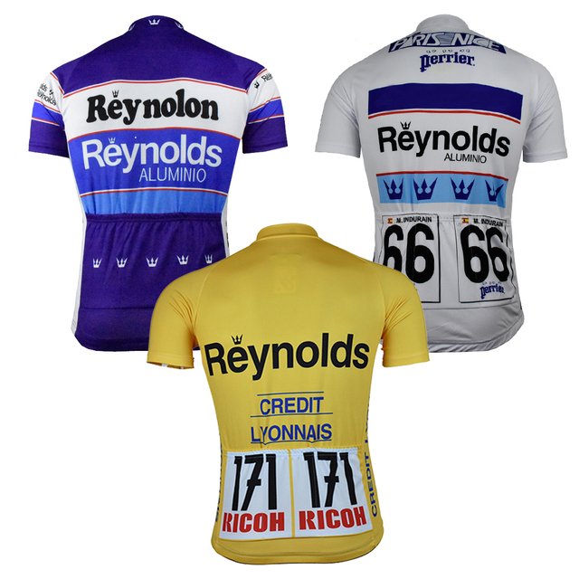 NEW pro team Reynolds Cycling jersey Men Short sleeve Bike wear yellow blue  white top classic cycling clothing MTB riding racing b476612fd