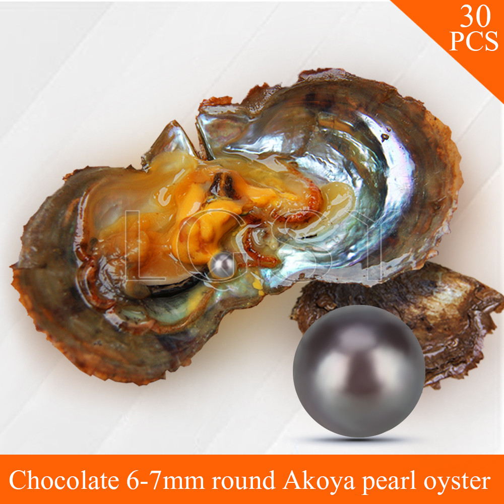 Bead wholesale Chocolate pearls 30pcs vacuum-packed oysters with 6-7mm round akoya pearls , UPS free shipping набор резьбонарезной трубный stayer professional 28260 h4