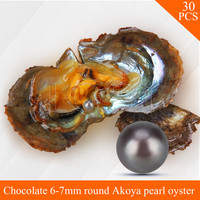 Wholesale Chocolate Pearls 30pcs Vacuum Packed Oysters With 6 7mm Round Akoya Pearls UPS Free Shipping