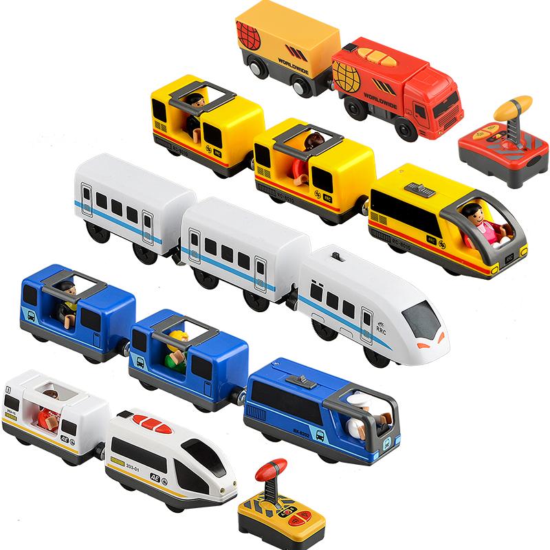 Детский набор игрушечного электрического поезда, игрушка с литыми отверстиями для стандартного деревянного трека железной дороги