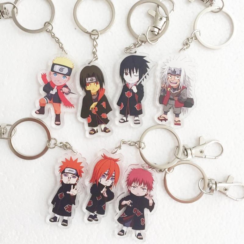 18Style Naruto Keychain Cosplay Props Acrylic Akatsuki Pain Uchiha Itachi Uchiha Madara Key Chain Keyring
