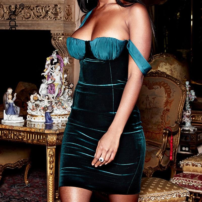 Cryptographic Velvet Fashion Spaghetti Strap Sexy Party Night Dresses Elegant Women Strapless Dress Green Hot 2019 Spring New