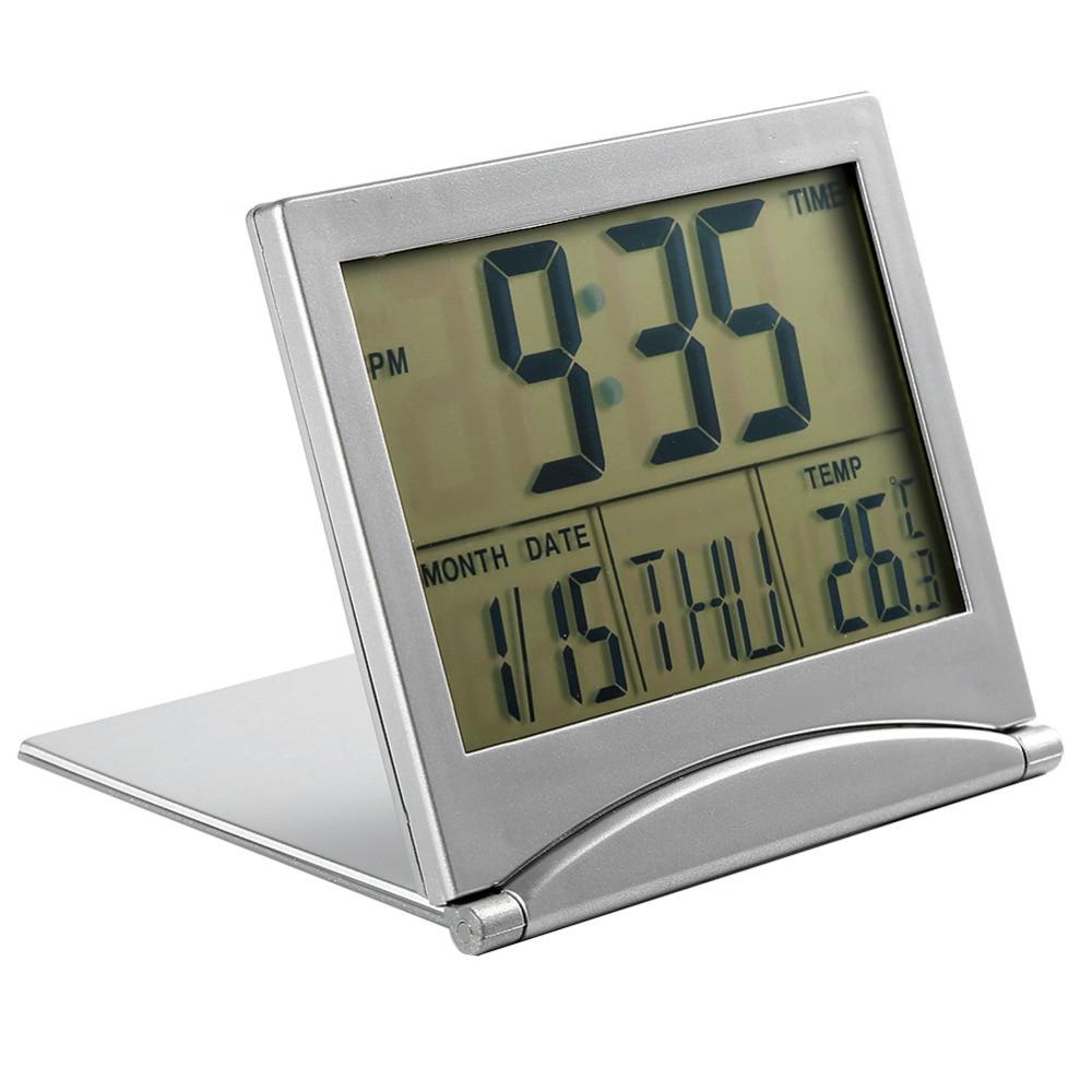 lcd digital large screen desk table clocks foldable thermometer temp calendar timer desk snooze alarm - Desk Clocks