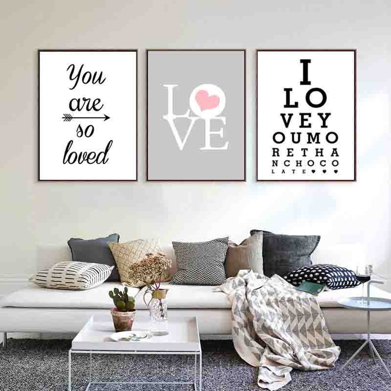 Nordic Minimalis Typography Print Sweet Romantic Love Quotes For Beloved Art Canvas Painting For Wall Picture Posters Home Decor