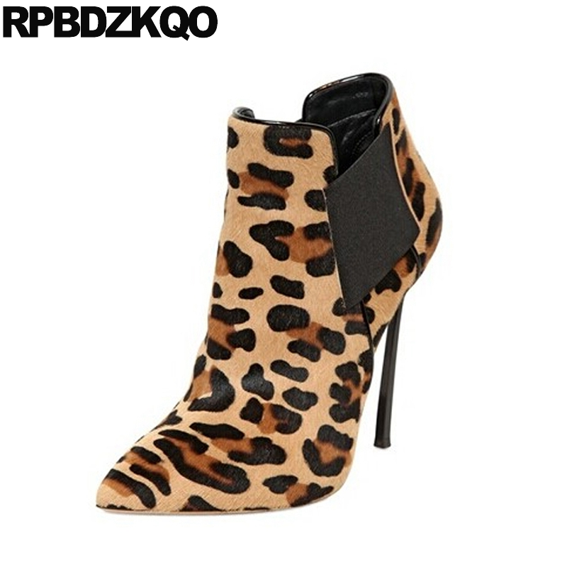 Pointed Toe Real Fur High Quality Slip On Extreme Stiletto Ankle Leopard Print Sexy Booties Fetish Heel Suede Brand Women Winter new extreme high heel 20cm heel pointed toe sexy patent leather heel needle metallic sexy fetish inseam boots a 027
