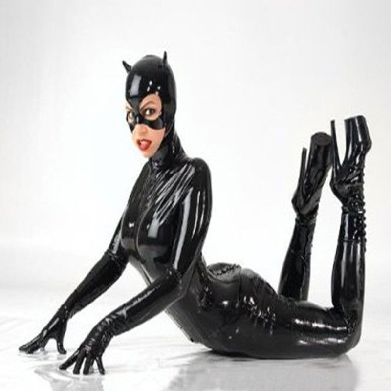 Women Black Faux Leather Catsuit Sexy Catwoman Costume Cat Cosplay Footed Jumpsuit Stretchable 2 Way Zipper Bodysuit With Mask