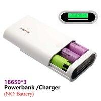 DIY Portable Power Bank Cargador 3x18650 Baterías Shell Caja con pantalla lcd y 2 salidas usb para iphone para samsung sin batería