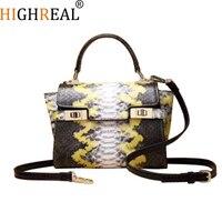 HIGHREAL Famous Design Snake Pattern Genuine Leather Bag Europe and America Shoulder Bag Trend Cowhide Women Fshion Handbag
