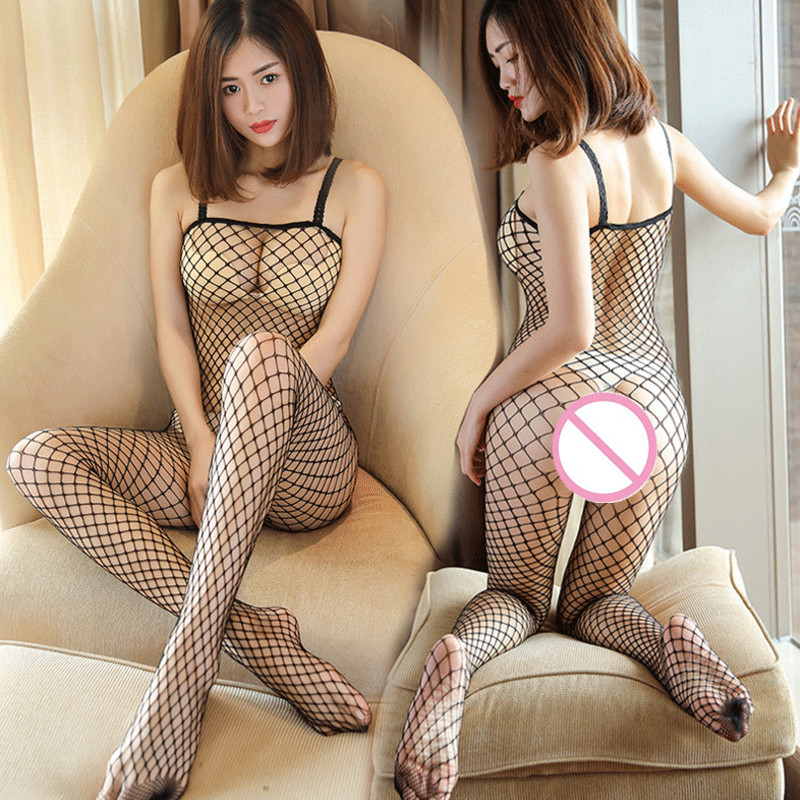 Women Transparent Babydoll Lingerie Sexy Hot Erotic Fishnet Lingerie Plus Size Open Crotch Sexy Underwear Costumes Sleepwear(China)