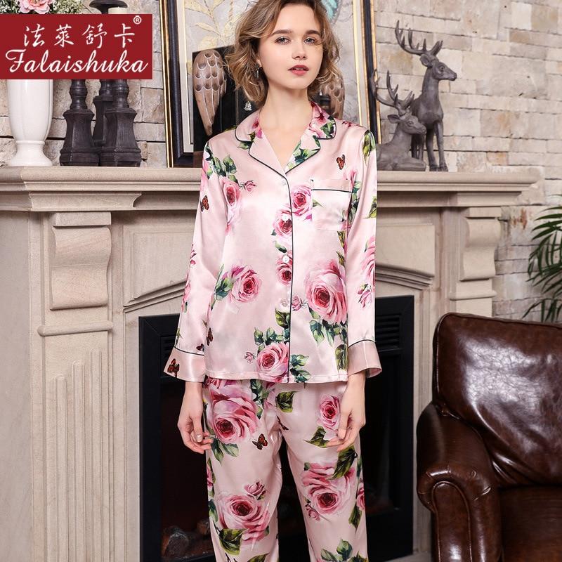 Image 3 - Real Silk Pajama Female Spring Autumn Silkworm Silk Long Sleeve Two Piece Romantic Rose SILK Woman's Sleepwear Summer T8189-in Pajama Sets from Underwear & Sleepwears