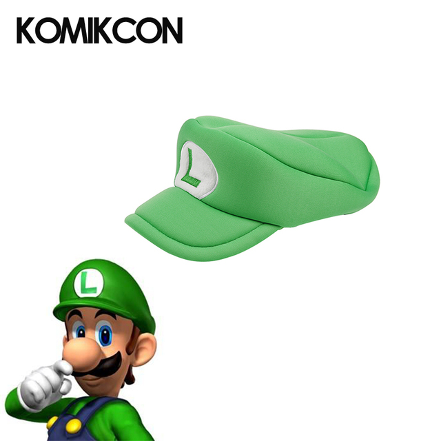 249f91cf5 Komikcon Super Mario Odssey Bros Cosplay Hats Anime Luigi Costumes  Accessories Green Caps Christmas Gifts for Halloween Party