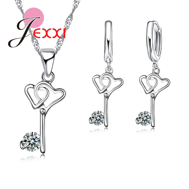 Sale Cubic Zirconia Stone Pendant Necklace 925 Sterling Silver Key Jewelry Sets Women Bridal Wedding Accessories