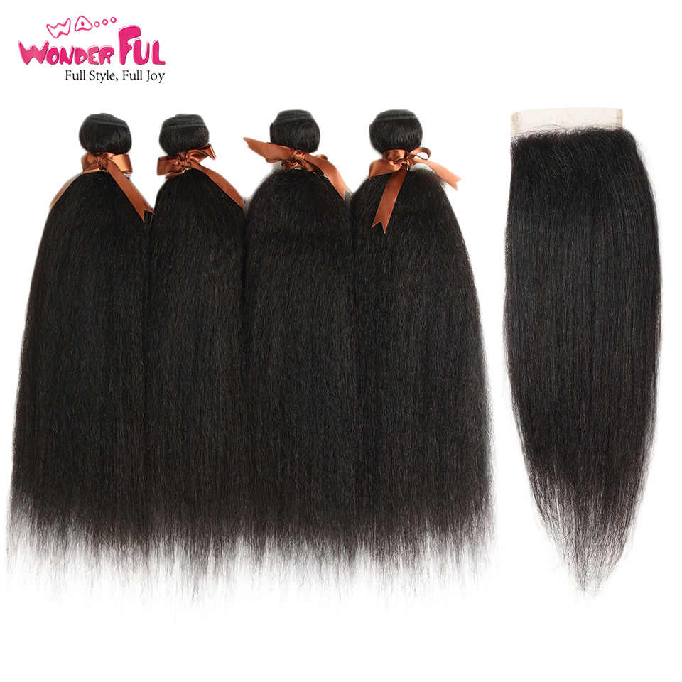 Yaki Straight Brazilian Hair Weave Bundle With Closure Yaki Human Hair Bundles With Closure Yaki Straight Hair Extensions