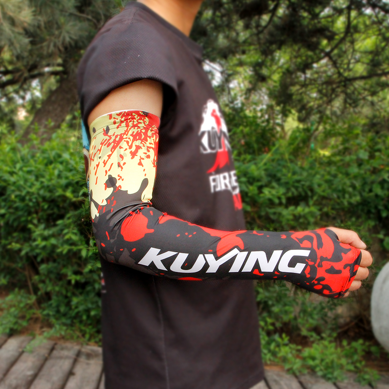 KUYING Original Outdoor Sport Men Soft Ice Rayon Arm Cover Sleeves Protector For Fishing Tackle Equipment Free Shipping