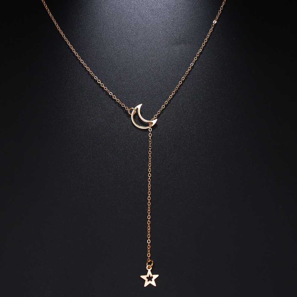 EN זהב חלול ירח כוכב תליון שרשרת נשי בוהמי רטרו פשוט שרשרת קולר צווארון תכשיטי מתנה סיטונאי 2019