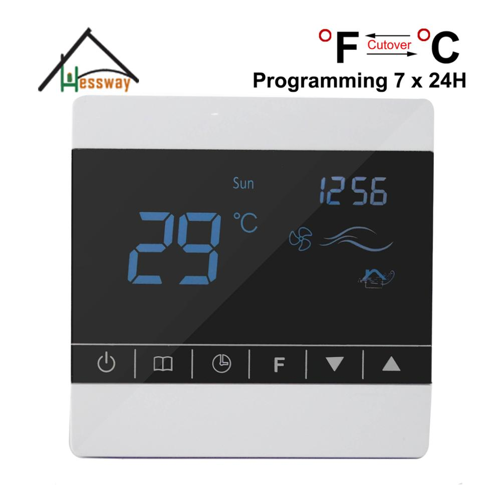 7 * 24 programming Child lock room fan coil unit thermostat with Stop Fan Coil 7 24h programmable adjustable thermostat temperature control switch with child lock