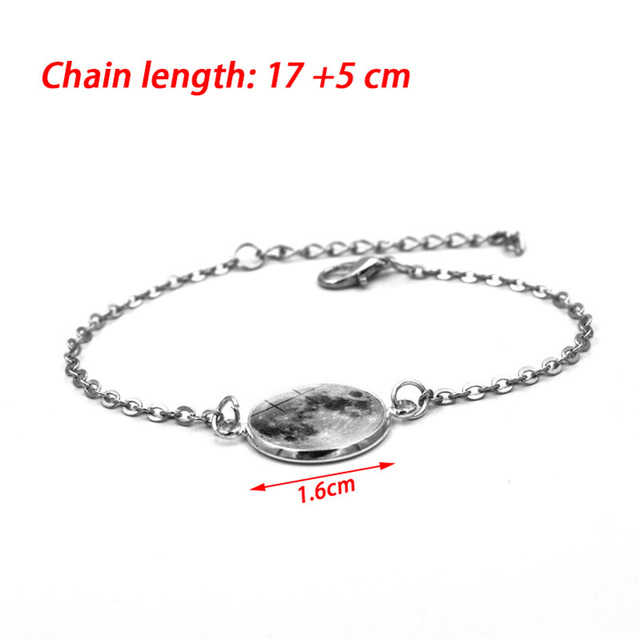 Glow In The Dark Charms Bracelet Glass Cabochon Gray Moon Luminous Jewelry Silver Chain Link Bracelets for Women Girl Gift 1