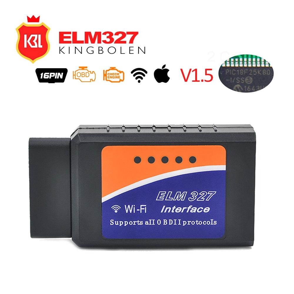 ELM327 OBD2 Bluetooth/WI-FI V1.5 автомобиля диагностический инструмент ELM 327 OBD II сканер чип PIC18F25K80 работа Android/IOS /Windows 12 В Diesel