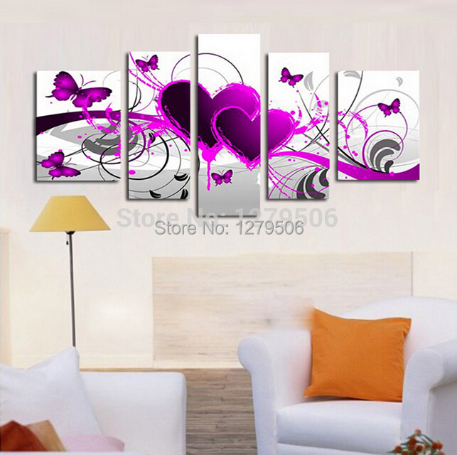 Handmade Large Oil Painting On Canvas Purple Wall Art Butterflies Fly In Purple Hearts Decor Living Room Gift Paintings