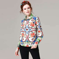 Novelty Tops New 2017 Autumn Fashion Women High Quality Porcelain Print Turn-down Collar Single-Breasted Designer Vintage Top