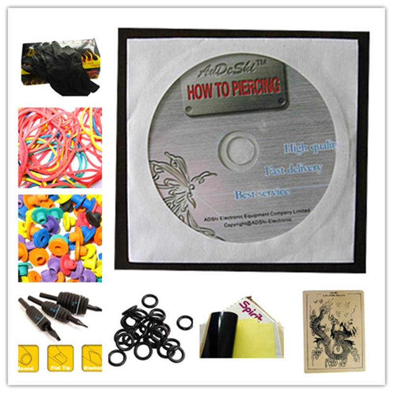 Professional body art 2 rotary tattoo gun machine+needles+inks power supply full set tattookit set