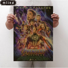 mling 1PC 50.5x36cm 2019 New Marvel Movie Avengers Endgame Poster Superhero Cafe Interior Wall Sticker