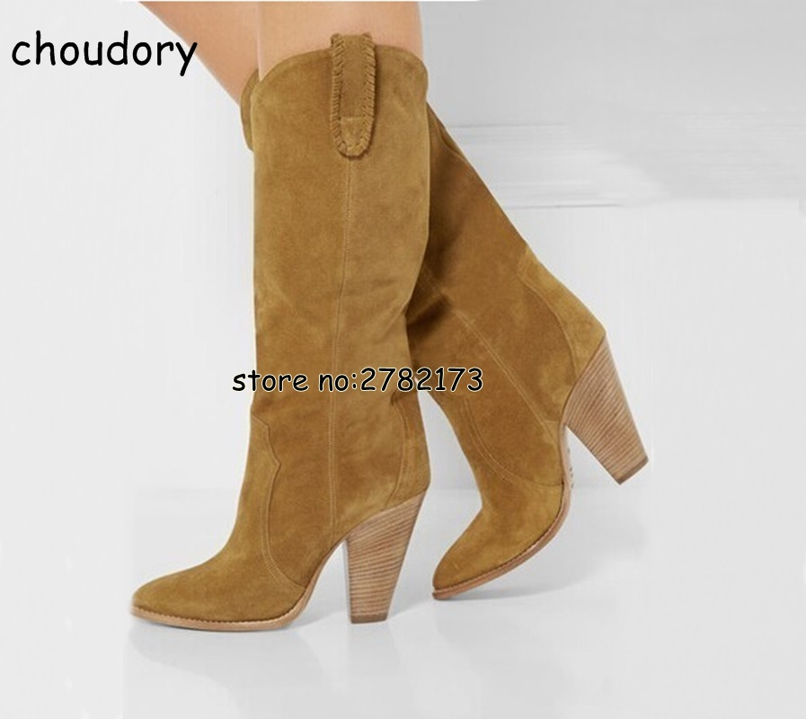 все цены на Black Brown Suede Lady Spike Heels Fashion Long Boots Street Style Knee High Motorcycle Boots Shoes High Heels Spring Autumn