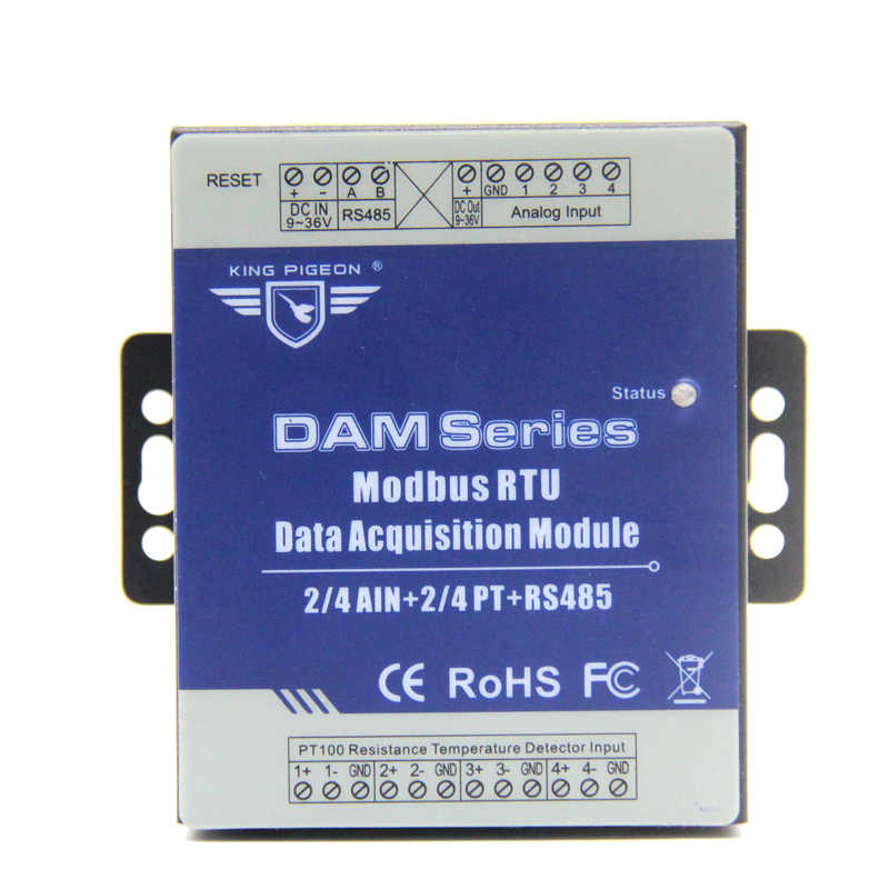 Remote Data Acquisition Module 2 Analog 2 PT Resistance Thermometer Data logger Module with RS485 DAM122