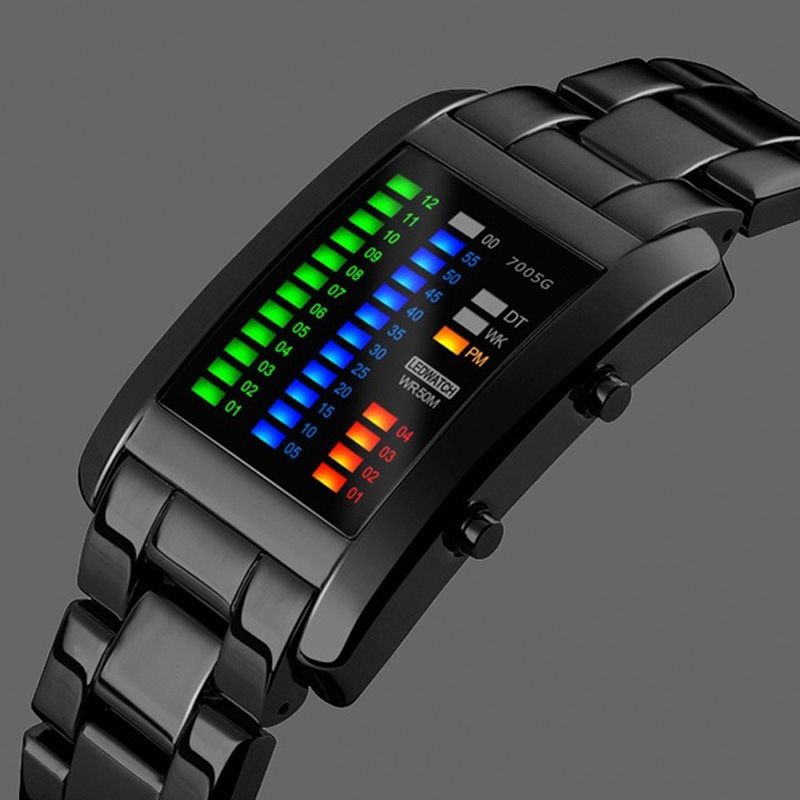 Binary Sport Watches Men's Fashion LED Watch Electronic Silver Tungsten Black Steel Clock Waterproof Outdoor COOL Man Wristwatch