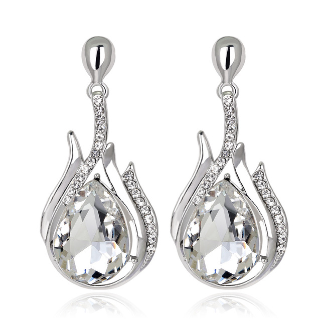 2107 New Bride Earrings 3 Colors Por Rhinestone Crystal Drop Earring Long Dangle
