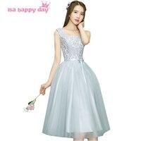 Meninas tea length tulle vestido de baile com lace vestido de noivas de dama de honra vestidos de cinza para casamentos mistos diferentes estilos H4104