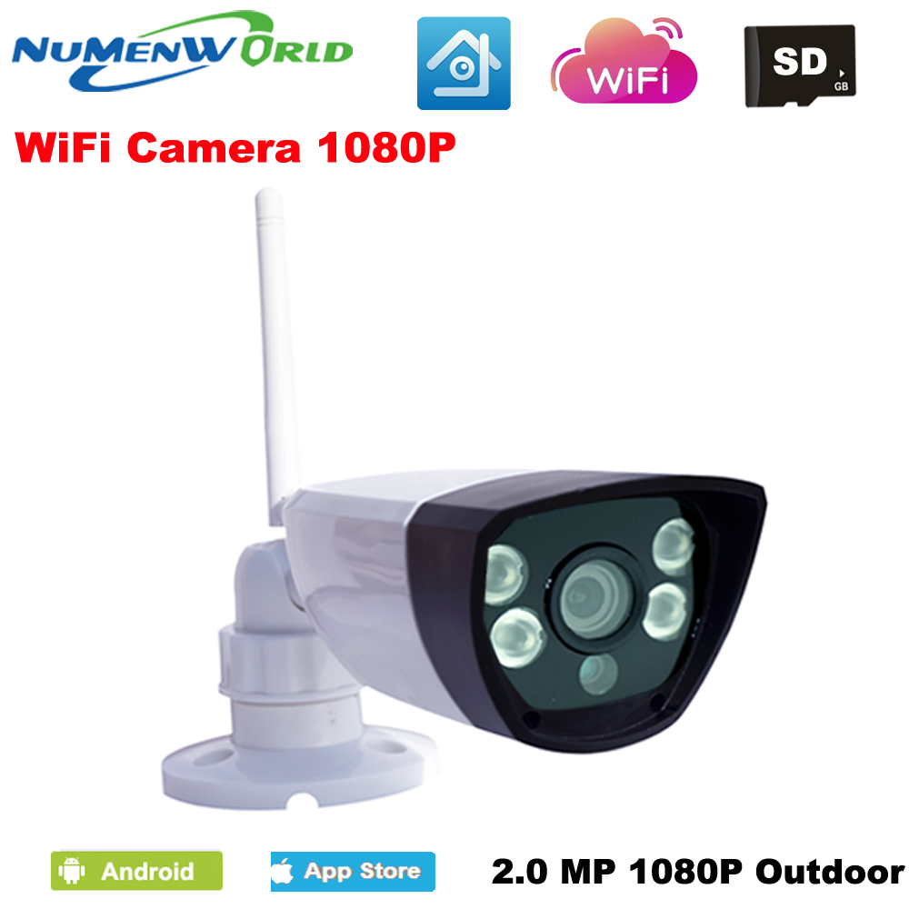NumenWorld Outdoor Waterproof Wifi IP camera 1080P Micro SD HD P2P 802.11b/g/n Wireless network Wired IP webcam IR CCTV camera wistino 1080p 960p wifi bullet ip camera yoosee outdoor street waterproof cctv wireless network surverillance support onvif