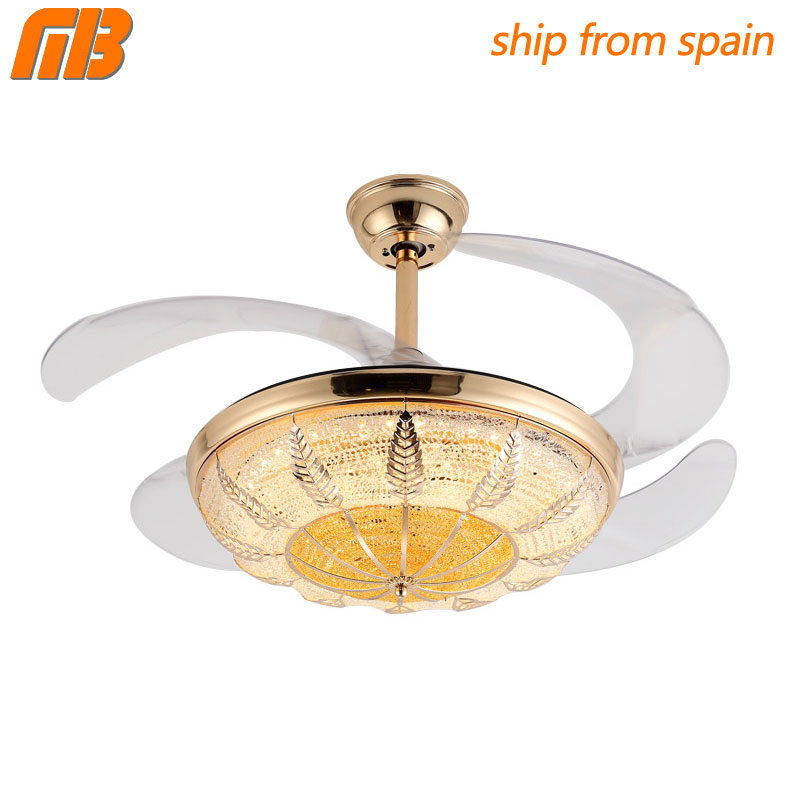 [MingBen] Modern Led Lamp Crystal Chandelier Fan Lights Dining Living Room Minimalist Restaurant Home Fan With Remote Control цена и фото