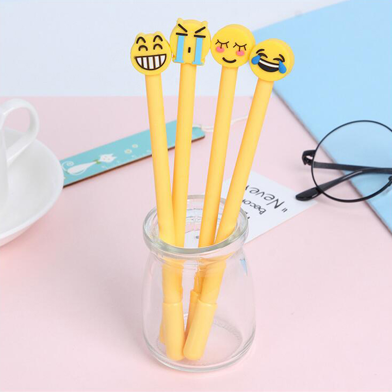 4 pcs/Lot Cute Emoji Gel Pen Kawaii face Expression 0.38mm Black Ink Office Accessories School Supplies Canetas lapices