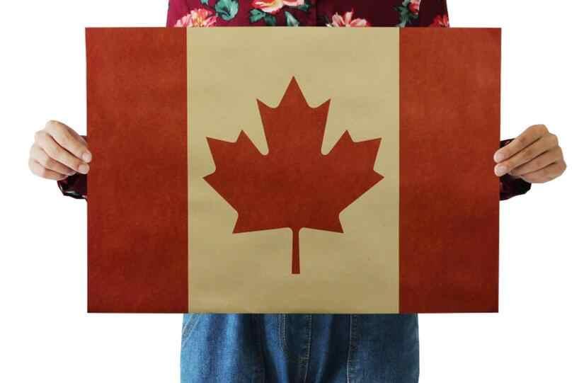 Vintage USA Canada Britain Flag poster Kraft Painting Country wallpaper Retro living room Wall Art Crafts Nostalgic bar sticker