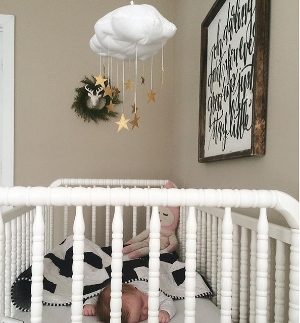 Ins Nursery Decor Moon And Stars Mobile Hanging Cloud Star Baby Kids Room