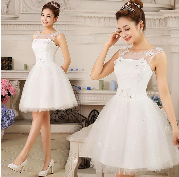 Pretty Fashionable Cheap Sweet Flower Short Bridesmaid Dresses 2016 White Vestido De Noiva Casamento Robe De Mariage Gwon