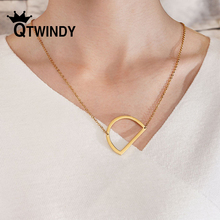 QTWINDY Gold Rose Silver Color 26 A-Z Letter Necklace choker Name Initial Necklaces For Women Long Big Pendant