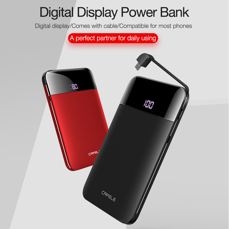 CAFELE led-anzeige Tragbare Power Bank Dual USB Ausgang Externe Batterie Lade Für iphone X Xs Xr 8 samsung S9 huawei xiaomi