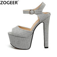 Plus Size 48 Designer Platform Women Sandals 2017 Extreme High Heels 16 CM Summer Shoes Woman Sexy Party Ladies Pumps Sandal