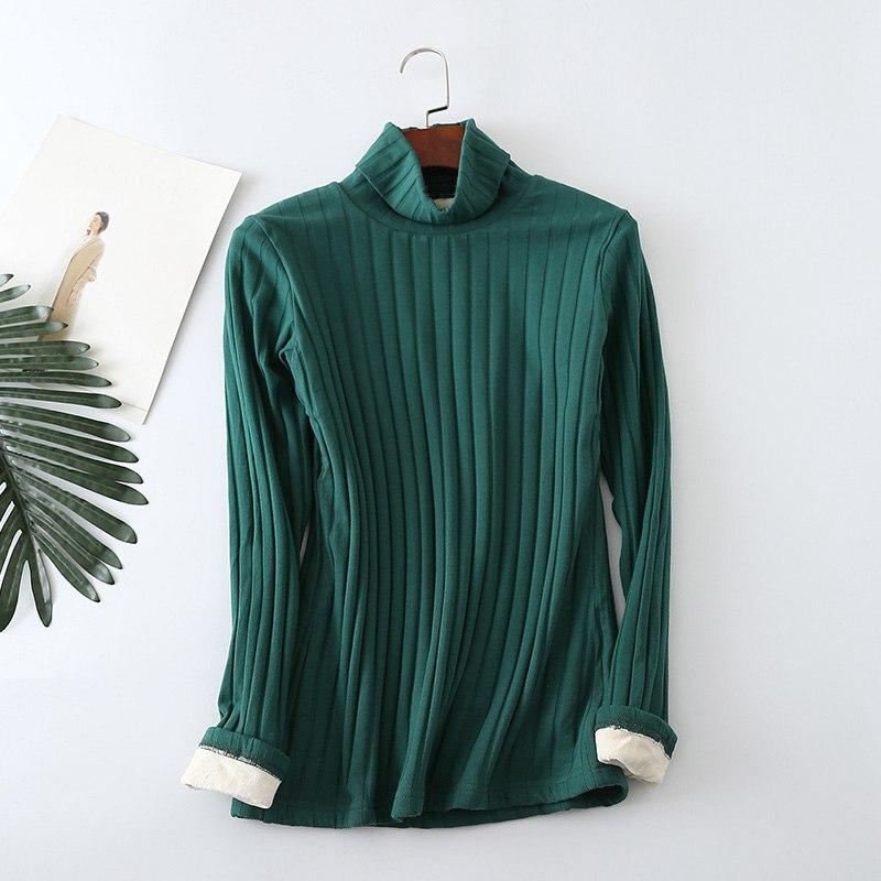 Mferlier Velvet Thicken Turtleneck T Shirt Tees Basic Long Sleeve Warm Solid 12 Colors Oversized 5XL Winter Womens T Shirt Tops