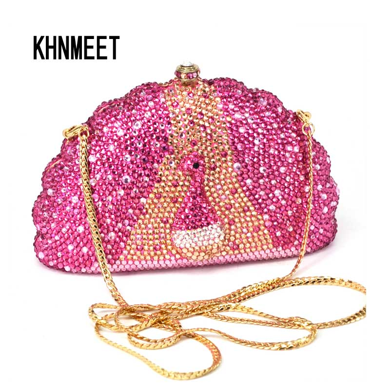 Pink peacock shape evening clutch bag elegant ladies party clutch bags full crystal Luxury evening bags