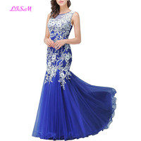 6468320b2133c Royal Blue Mermaid Tulle Evening Dress White Appliques Plus Size Prom Gowns  Sheer Back Long Formal