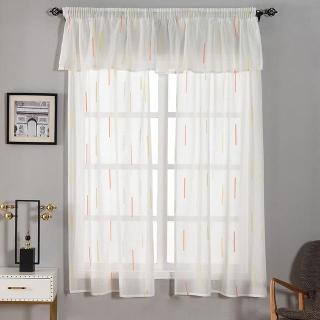 NAPEARL Decoration Kitchen Striped Tulle Curtain for Balcony Door Small Window  Valance Cheap Soft Pure White Sheer Fabrics Panel