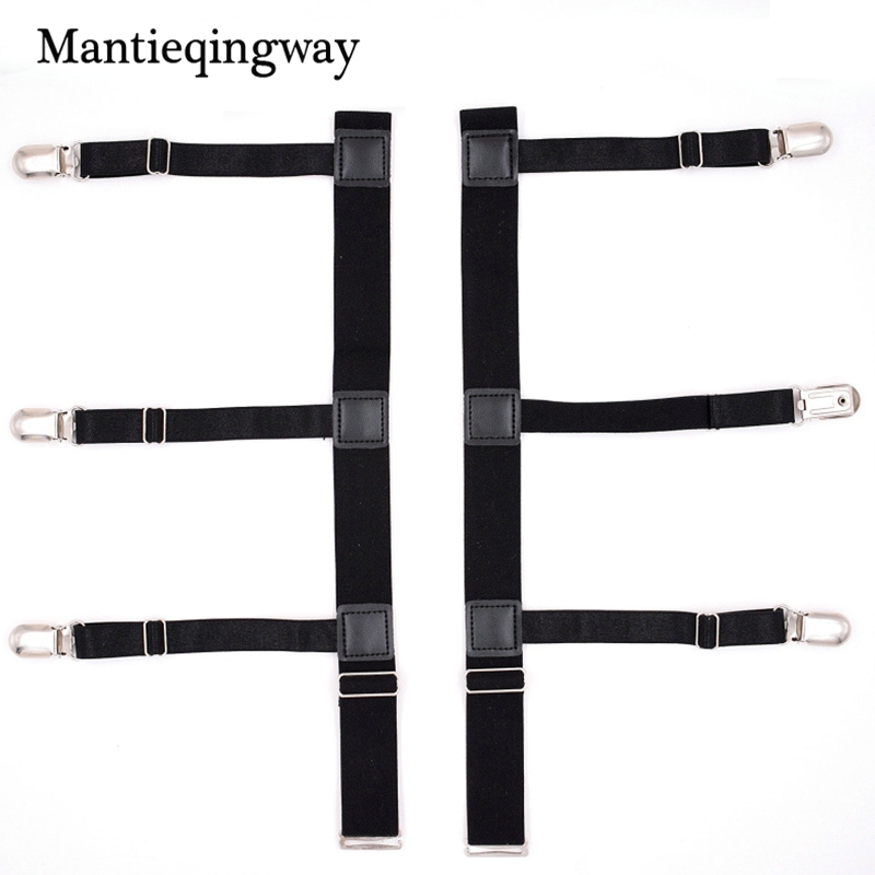 Mantieqingway Solid Color Shirts Holders For Men Womens Sexy Garters Fashion Punk Strap Band Leg Adjustable Suspender Straps Apparel Accessories Men's Suspenders