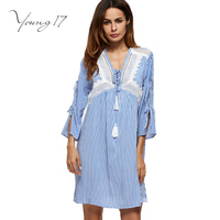 Young17 2017 Light Blue Spring Women Dress Lace Patchwork One Piece Dress V Neck 3 4