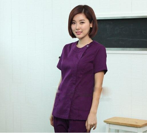 New WoMen's Purple Summer Short Sleeve Nurse Uniform Hospital Medical Scrub Set Clothes Short Sleeve Surgical Scrubs