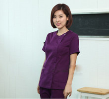 New WoMens purple Summer Short sleeve Nurse Uniform Hospital Medical Scrub Set Clothes Sleeve Surgical Scrubs