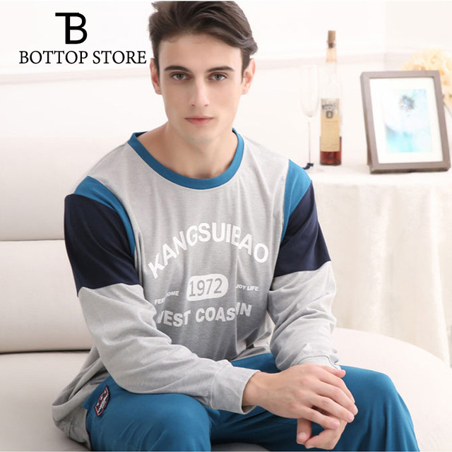 Men's Cotton Sleepwear Set Pajamas Autumn Winter Casual Long Sleeves Youth Man Cotton T Shirts Male Home Leisure Suit Homewear