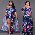 Large Size Women Dress Half Sleeve Off The Shoulder Sexy Dress Women M-3XL Digital Print Split Dress Femme